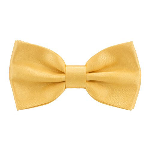 Bow TIe House Satin Classic Pre-Tied Bow Tie Formal Solid Tuxedo, by (Small, Gold)