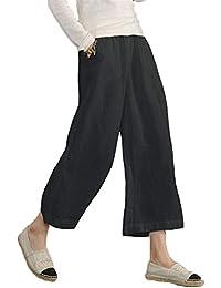 HaiDean Pantalon Lino Mujer Elastische Taille Color Sólido Pierna Ancha 7 8 Pantalones  Vintage Elegantes 949ab9362bd2