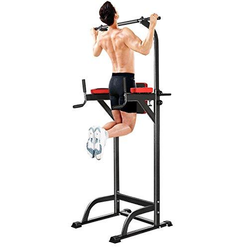Aimage Power Tower Gymtower Sportplus Trainingsgeräte Multifunktionale Kraftstation Höhenverstellbare Klimmzugstange für Zuhause Training für Arme Brust Rücken und Bauch