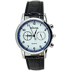 Watch - HUANS Men's Watch Leather Band Analog Quartz Date Business Wrist Watch Colour:Black
