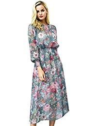 ba67e963d3ee Missy Chilli Damen Lang Schwarz Kleid Elegant Langarm V-Ausschnitt Blumen  Boho Maxi Kleid Strandkleid Dress mit…