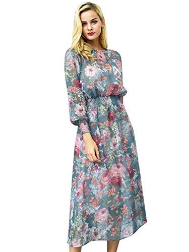 Missy Chilli Damen Lang Kleid Sommer Elegant Langarm Blumen Chiffon Boho Maxi Kleid Strandkleid Dress Grün