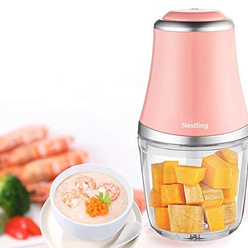 Nestling® 280W Elektro Zerkleinerer, Gemüsezerkleinerer, Küchenmaschine mit 3 scharfen Klingen für Fleisch, Obst und Nüsse mit 600 ml (Rosa)
