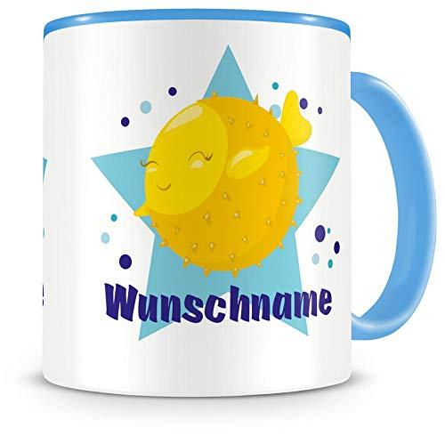Samunshi Kinder-Tasse mit Namen und Lustiger Kugelfisch als Motiv Bild Kaffeetasse Teetasse Becher...