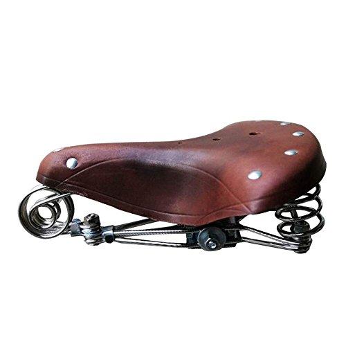 TentHome Fahrradsattel Classic Retro Fahrradsitz Ledersattel Federsattel Stahlgestell Schraubenfeder Niete (Kaffee)