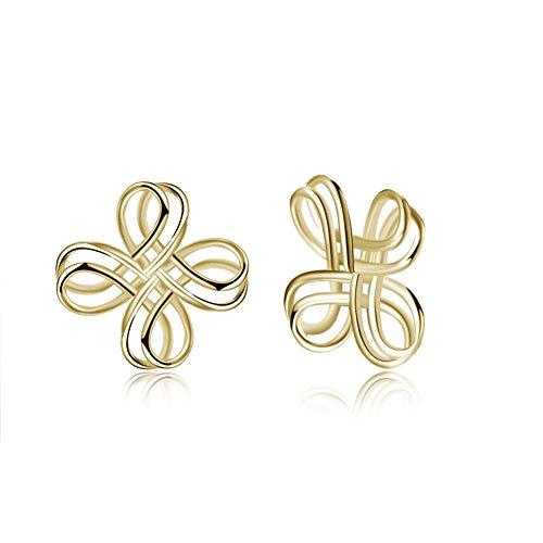 LILIMO Modische Einfache Dame Girl 925 Sterling Silber Keltisches Kreuz Knoten Ohrringe Frauen Ohrringe,Gold