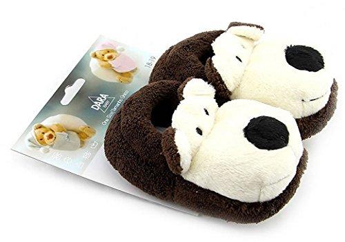 Tangda Baby Schuhe Winter Unisex Jungen Mädchen Hausschuhe Babyschuhe Baumwolltuch Lauflernschuhe Cartoon Hund Krabbelschuhe - Farbe/Größe Wählbar Braun