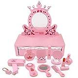 Deluxe in Legno Ragazze Rosa Dressing Table Vanity Luce Specchio Impostare Riproduzione Giocattolo Glamour Make Up Desk Legno Salone di Bellezza Play Set, Giochi di Ruolo, 11 Pezzi,Rosa