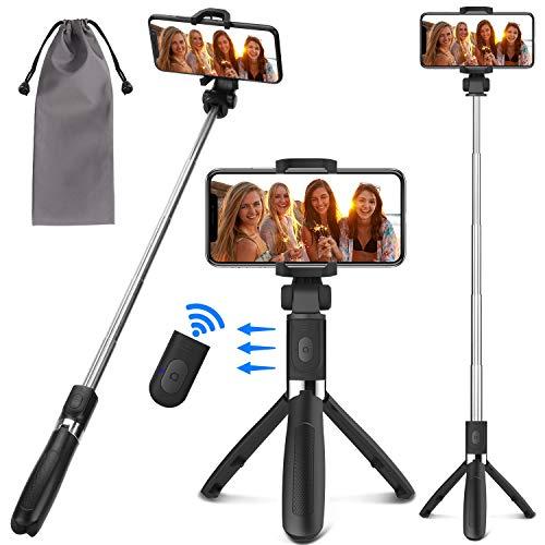 PEYOU Perche Selfie Trépied avec Télécommande pour iPhone Xs Max/Xs/Xr/X/7/8/8 Plus,Samsung et 3.5-6.5''Android Smartphone,360 ° Selfie Stick 3 en 1 Aluminium Monopode Extensible de Amovible Bluetooth