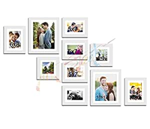 Painting Mantra Decorative Premium Set of 10 Individual Wall Scaffold Glass Photo Frame - White