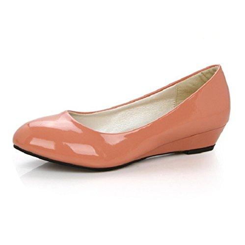 Lässige Mit Freizeit rutsch Klassische Sohlen Gummi Slipper Bequeme Anti Elegante Aprikose Damen Flache Lackleder R5q87x7A
