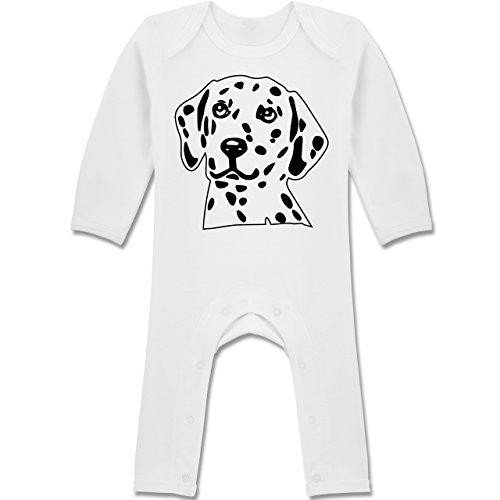 lmatiner - 6-12 Monate - Weiß - BZ13 - Langarm Baby-Strampler / Schlafanzug für Jungen und Mädchen (Dalmatiner-baby-kleidung)