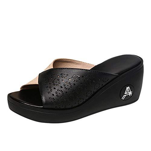 Gold Glitter Platform Sandal (NNVNN Frauen Atmungsaktiv Pantoffel Zehen öffnen Wedge Dicker Boden Wild Fischmaulpantoffeln)