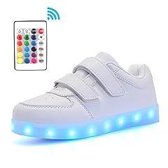 Idea Regalo - Voovix Bambini LED Light-Up Scarpe con Telecomando Low-Top Lampeggiante Sneakers con Luci per Ragazze e Ragazzi(Bianco/2,EU30)