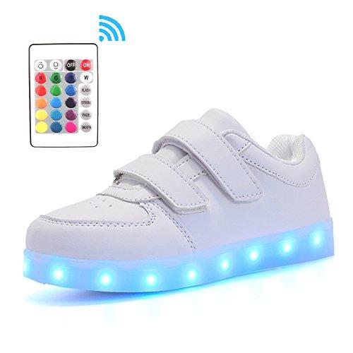 Voovix Kids Low-Top LED Light Up Shoes con Control Remoto Zapatos con Luces Para NIñOs y NIñAs(Blanco/2,EU25/CN25)