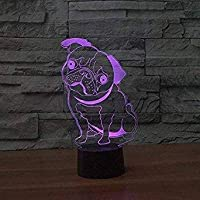 3D Cute Pug Dog Night Light Illusion Lamp 7 Color Change LED Touch USB Table Gift Kids Toys Decor Decorations Christmas Valentines Gift