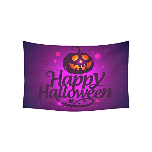 Tapisserie Happy Halloween Karte Kürbis gerasterte Version Wandteppiche Wandbehang Blume psychedelischen Wandteppich Wandbehang indischen Wohnheim Dekor für Wohnzimmer Schlafzimmer 60 X 40 Zoll