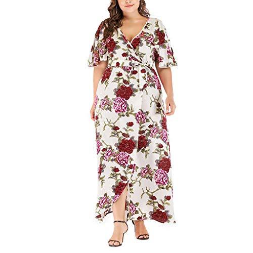 iYmitz Damen Übergröße Maxikleid Elegant V-Ausschnitt Kurzarm Kleider mit Blumen Pailletten Abend Party Netzkleid(X9-Weiß,EU-54/CN-5XL) - Mini-kleid Short Cocktail