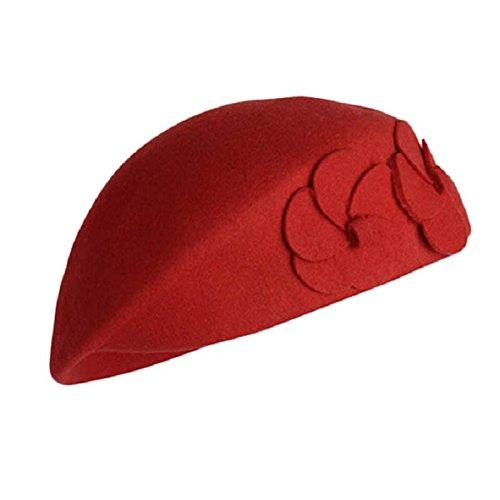Malloom® 2015 Femmes Chaudes Sentaient Français Béret Bonnet Sentait La Mode Du Chapeau Pilulier 100% Laine Chaude Rouge