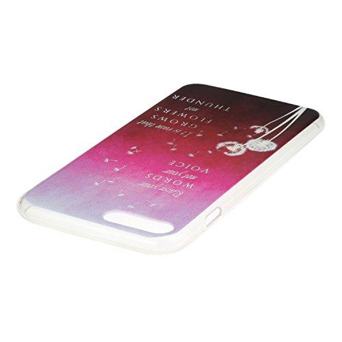 iPhone 7 Plus Hülle,iPhone 7 Plus Case,iPhone 7 PlusSilikon Cover Felfy Ultra Dünne Slim Full Body Soft Gel TPU Silikone Case Schöne Bunte Muster Design Case Rückschale Schutz Anti Scratch Tasche de p Red Löwenzahn