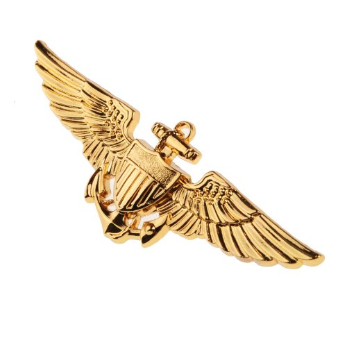 2. Weltkrieg-Metallbrosche US-Naval-Flieger, Farbe Gold. (Aviator Kostüme)
