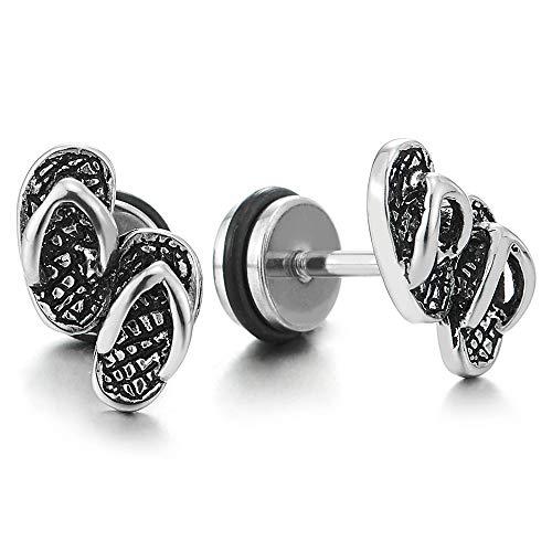 Paar Vintage Flip Flops Hausschuhe Ohrstecker Ohrringe Herren Damen, Edelstahl Gestüt Ohrringe, Schraube Wieder