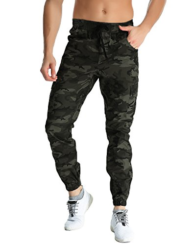 MODCHOK Hombre Pantalones Largos Camuflaje Jogger Chándal Pants Algodón Sports Verde Militar Camuflaje XL