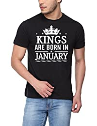 Pepperclub Men's Cotton Round Neck Half Sleeve Tshirt - Kings Are Born In January