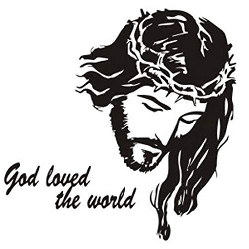 olisch   God Loved The World   Jesus Avatar Umweltschutz Aufkleber Wandsticker Wandtattoo für Wohnzimmer Badezimmer Wand-Fenster Dekoration, 56x56cm, PVC ()