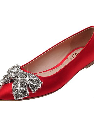 shangy idamen Chaussures–Ballerines–Bureau/robe/Lässig–Satin–Paragraphe–Ballerine/Chaussures à bout pointu plat/fermé orteils–Rouge/Champagne Rouge - rouge