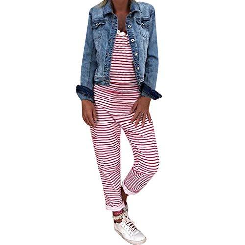 Routinfly 2019 Neue Damen gestreiften Pullover Overall,Frauen Mode Sommer beiläufige lose Hosen Baggy Pants - Stricken Mutterschaft Pullover