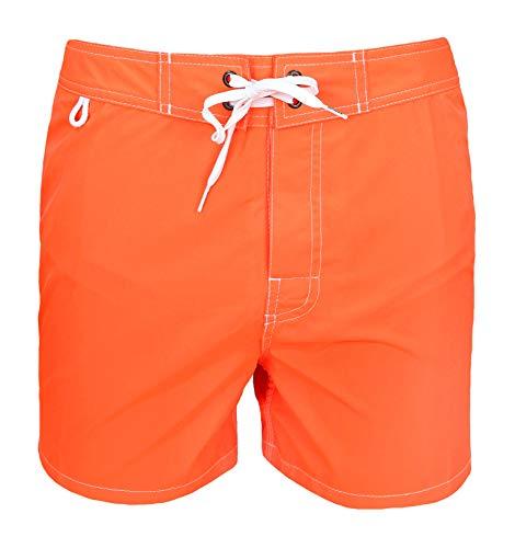SUNDEK - Bañador para Hombre Original - BS/RB - Low Rise 14 Pulgadas neón Naranja #8 - Pantalón Corto...