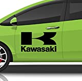 Streetwall Autoaufkleber Aufkleber Kawasaki Schriftzug und Logo Motorrad Wohnmobil Dekoration Schwarz Größe M