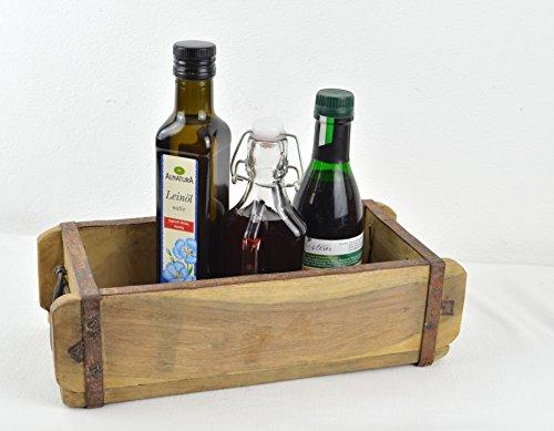 Schmiedegarten Dekorative Aufbewahrungsbox mit Griffen - Antike Ziegelform aus Holz - Besteckkasten Unikat im Vintage Shabby Stil -