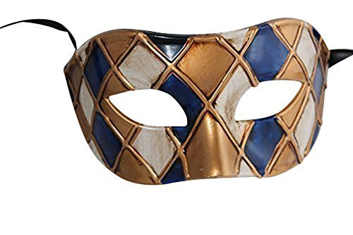 Harlekin Blau und Antik Gold/Elfenbein Venezianische Maskerade Karneval Partei Augenmaske ()