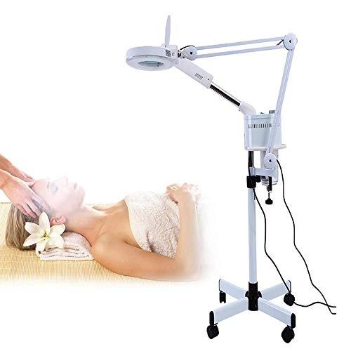 3 in 1 Lupenleuchte mit Ozon-Gesichts-Dampfer-Kaltlicht-LED 5X-Vergrößerungs-Stehlampe für Inspektion, Medizin, Kosmetik, Hautpflege