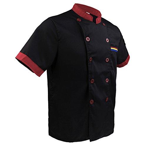 Double Breasted Mantel Chef (Baoblaze Frauen Herren Kochjacke Kurzarm Poly-Baumwolle Küche Hotel Kochkleidung Uniform Berufsbekleidung mit knöpfen - Schwarz, 2XL)
