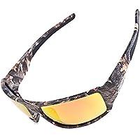 Zhuhaimei,Marco de Camuflaje para Deportes al Aire Libre Gafas de Sol polarizadas a Prueba de Viento Gafas de Pesca & nbsp;(Color:Rojo Naranja)