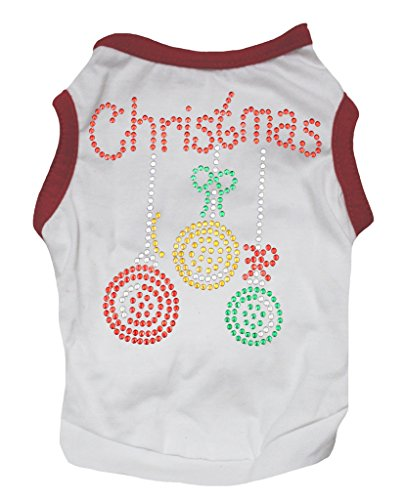 Petitebelle Pet Supply Christmas Decoration Red White T-Shirt Novelty Dog Dress (Small) (Santa Tank Dog)