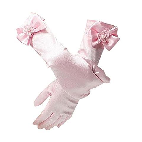 Lymanchi Girls Party Flower Lace Satin Princess Gloves For Wedding