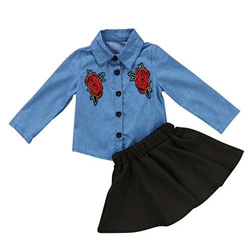 Brightup Kleine Mädchen Denim Shirt und Rock 2 Stück Kleidung Set, Kinder Floral bestickt Jeans Tops Kleinkind Baby Frühling Sommer Outfits (Jeans-rock Mädchen Bestickte)