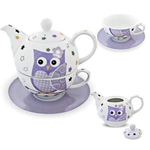 Porzellan Tee Set Tea for one Teeservice Teekanne Tasse Untersetzer Eule lila weiß
