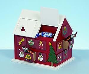 Groß Holz Weihnachten Haus Adventskalender 20cm Hoch