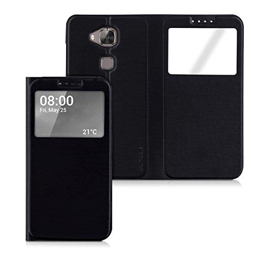 kwmobile Flip Case Hülle für Huawei G8 / GX8 - Aufklappbare Schutzhülle mit Sichtfenster im Flip Cover Style in Schwarz