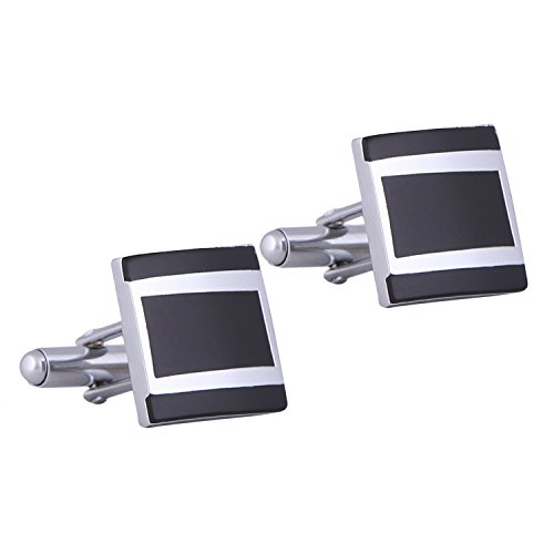 Tripin Black and Silver Brass Cufflinks Set for Men in A Gift...