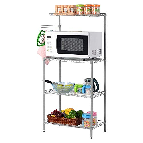 LARRY SHELL 3 Tier Mikrowelle Ständer Lagerregal, Küche Drahtregal Ofen backt Rack mit Spice Rack Organizer, für Küche Garage Salon Badezimmer -