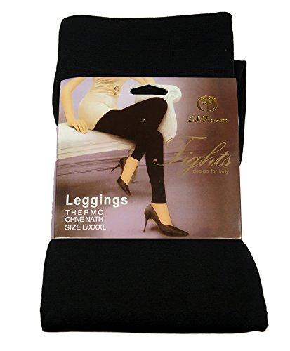 Piotrstrade Blickdichte Damen Leggings Leggins lang ohne Naht mit 5 cm breiten elastischen Bund warme Winter Stretch Leggings Schwarz
