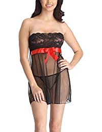 Clovia Women's Sheer Tube Babydoll With Lace Bodice With Thong