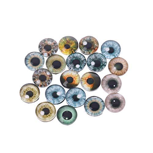 FURU Puppenaugen,20 Stücke Glas Puppe Augen Tier DIY Handwerk Augäpfel Zubehör Schmuck Handgemachte 8mm / 12mm / 18mm (Glas-puppe Augen)