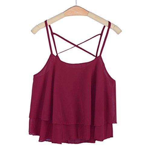 Sexy Gilet , Amlaiworld Femmes Irregular Summer Chiffon Shirt Camisole Gilet Vin Rouge